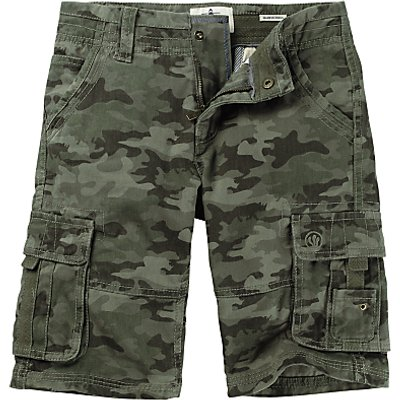 Fat Face Boys' Camouflage Cargo Shorts, Khaki