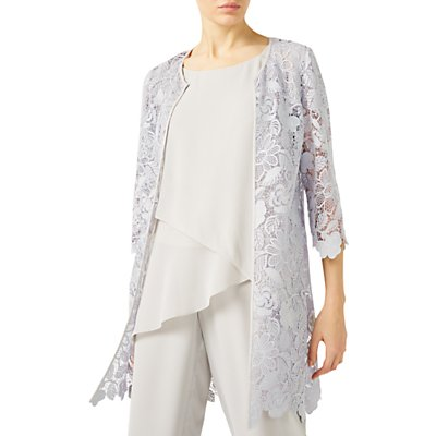 Jacques Vert Floral Lace Shacket, Mid Grey