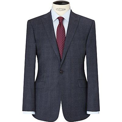Richard James Mayfair Windowpane Check Slim Suit Jacket, Airforce