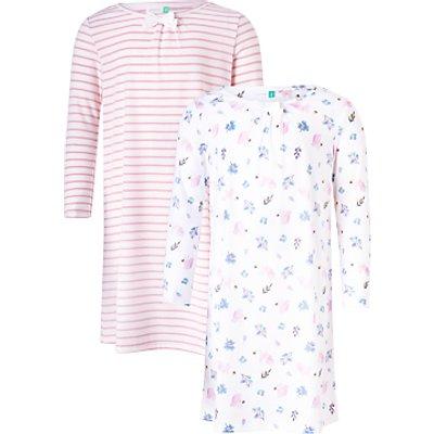 John Lewis Children's Squirrel Print Night Dress, Pack of 2, Pink/White