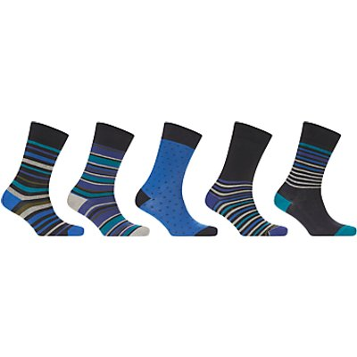 John Lewis Multi Stripe Socks, Pack of 5, Navy/Multi