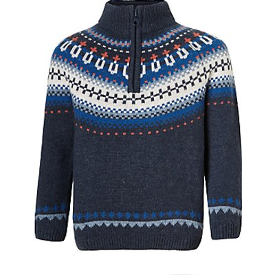 John Lewis Boys' Fair Isle Half Zip Jumper, Blue
