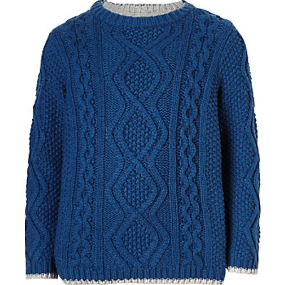 John Lewis Boys' Cotton Cable Knit Jumper, Blue