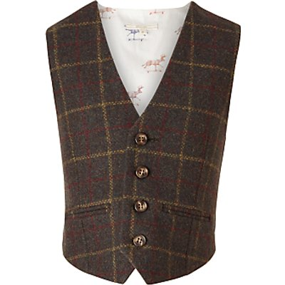 John Lewis Heirloom Collection Boys' Tweed Waistcoat, Green