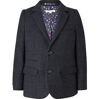 John Lewis Heirloom Collection Boys' Wool Herringbone Blazer Jacket, Blue