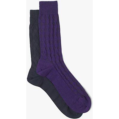 John Lewis Made in Italy Cotton Subtle Texture Socks, Navy/Purple