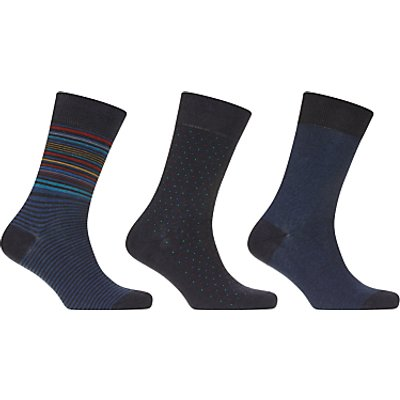 John Lewis Made in Italy Egyptian Cotton Socks, Pack of 3, Blue
