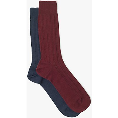 John Lewis Made in Italy Cotton Subtle Texture Socks, Red/Navy