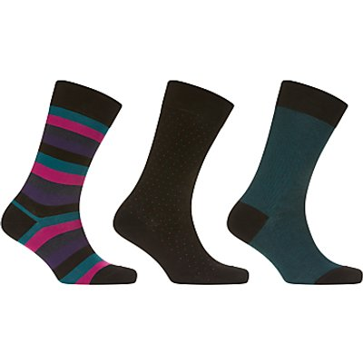 John Lewis Made in Italy Egyptian Cotton Socks, Pack of 3, Black