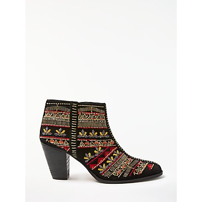 AND/OR Tarsia Embellished Detail Ankle Boots, Black