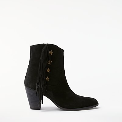 AND/OR Taryn Star Fringed Ankle Boots, Black