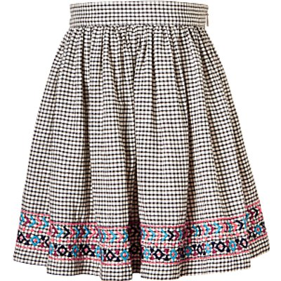 John Lewis Girls' Check Embroidered Skirt, Gardenia