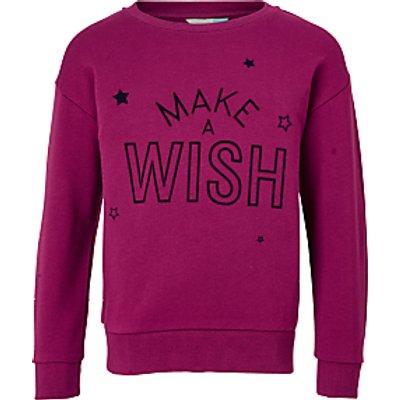 John Lewis Girls' Make-A-Wish Sweatshirt, Magenta Berry