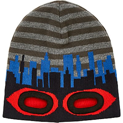 John Lewis Children's Eyehole Beanie Hat, Grey/Blue/Red