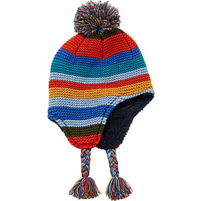 John Lewis Children's Stripe Bobble Trapper Hat, Rainbow