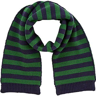 John Lewis Children's Stripe Scarf, One Size, Navy/Green