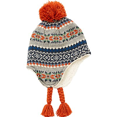 John Lewis Children's Fair Isle Bobble Trapper Hat, Multi