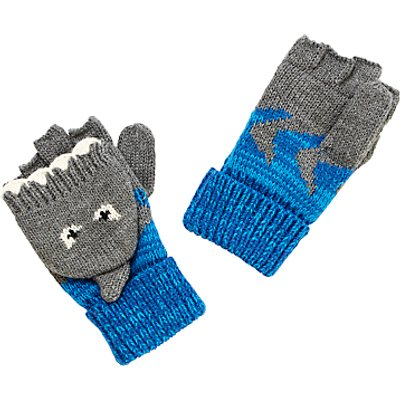 John Lewis Children's Shark Flip Gloves, Grey/Blue