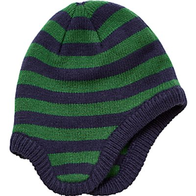 John Lewis Children's Stripe Trapper Hat, Navy/Green