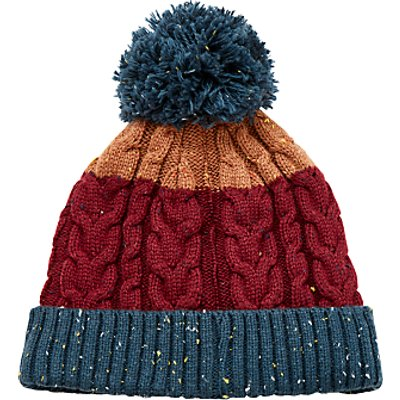 John Lewis Flecked Cable Knit Bobble Hat, Burgundy