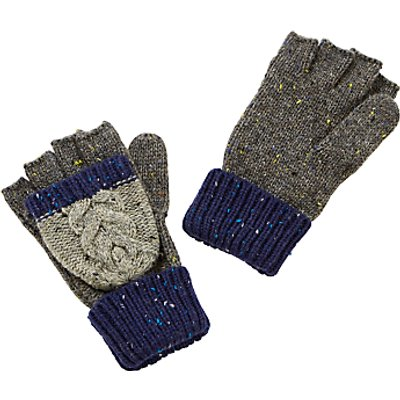 John Lewis Children's Flecked Cable Knit Reverse Loop Flip Mittens, Blue/Grey