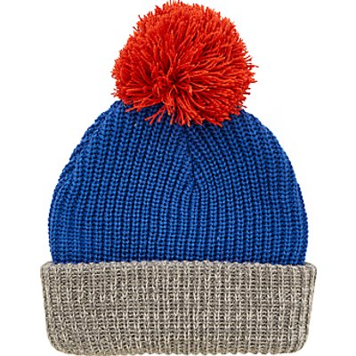 John Lewis Children's Contrast Knitted Bobble Hat, Blue/Grey/Red