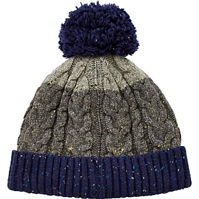 John Lewis Flecked Cable Knit Bobble Hat, Grey/Blue