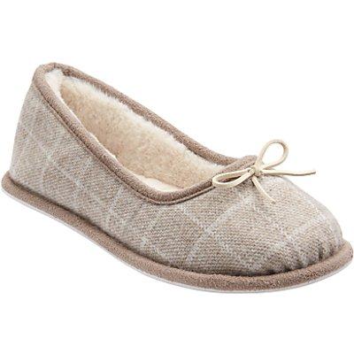 John Lewis Faux Fur Lined Ballerina Slippers, Grey