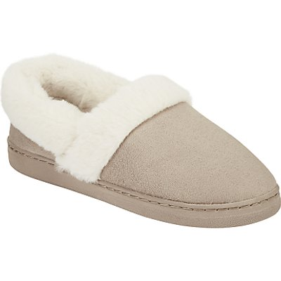 John Lewis Faux Fur Lined Slippers, Grey
