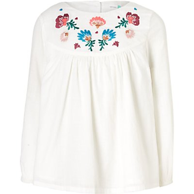 John Lewis Girls' Embroidered Blouse, Cream