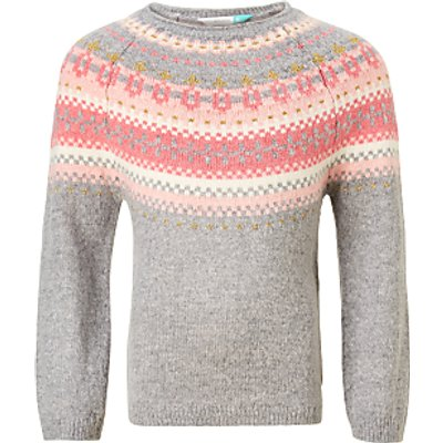 John Lewis Girls' Fair Isle Knitted Jumper, Grey