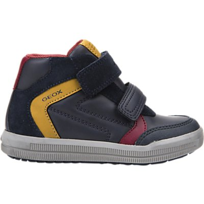 Geox Children's Arzach Rip-Tape Trainers, Navy/Yellow