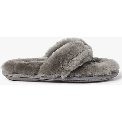 John Lewis Sheepskin Toe Post Slippers, Grey