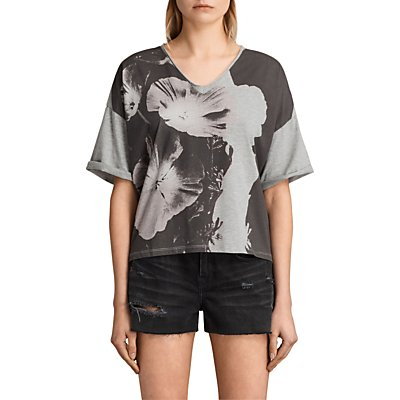 AllSaints Reality Ada T-Shirt, Light Grey Marl