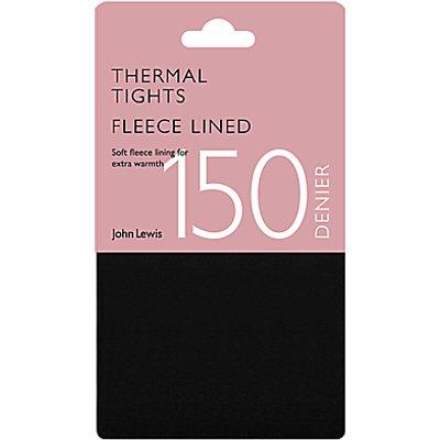 John Lewis 150 Denier Polar Fleece Opaque Thermal Tights, Black