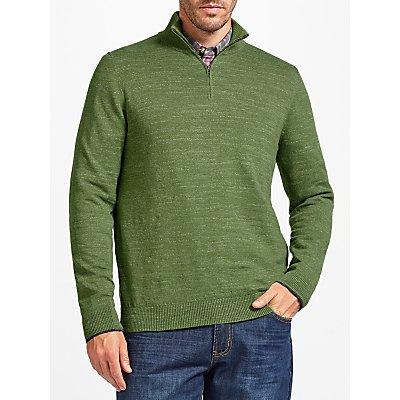 John Lewis Budding Cotton Zip Neck Jumper, Green
