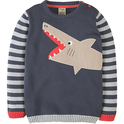 Frugi Boys' Elwood Shark Knit Jumper, Blue/Grey