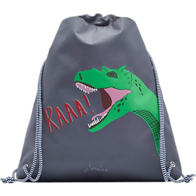 Little Joule Children's Glow In The Dark Dinosaur Draw String Bag, Grey