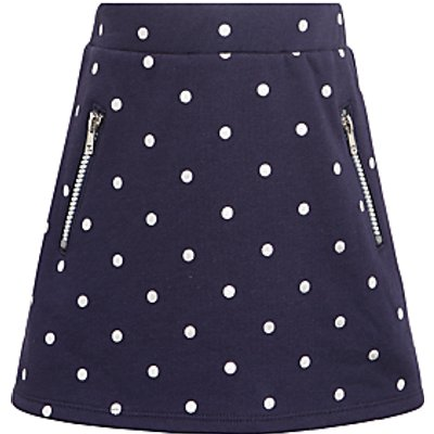 John Lewis Girls' Spot Print Sweater Skirt, Navy
