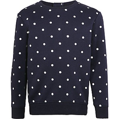 John Lewis Girls' Spot Print Sweatshirt, Navy