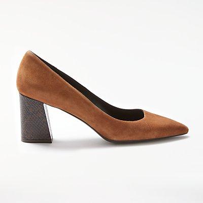 Modern Rarity Adella Angled Block Heeled Court Shoes, Tan
