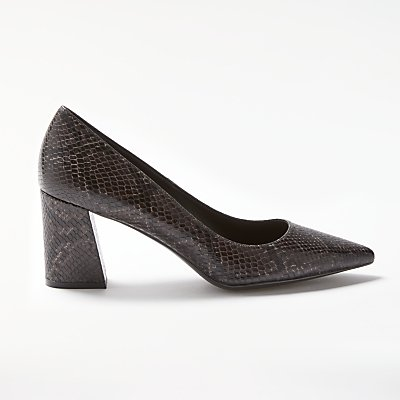 Modern Rarity Alise Angled Block Heeled Court Shoes, Black Snake
