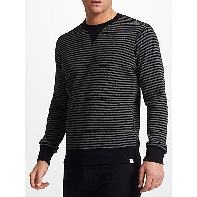 Edwin Waffle Striped Knit Jumper, Dark Grey/Black