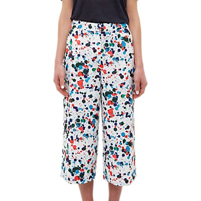 Ted Baker Colour By Numbers Kayaa Wide Leg Angle Grazer Trousers, Ivory/Multi
