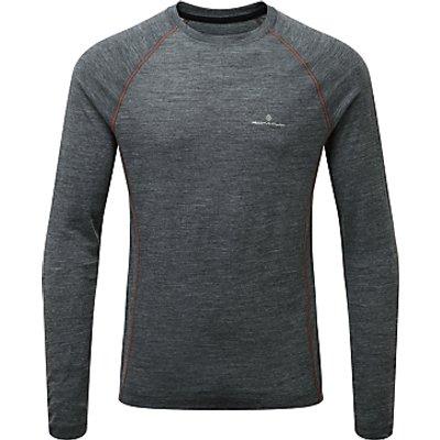 Ronhill Infinity Merino Blend Long Sleeve Running Top, Grey/Orange