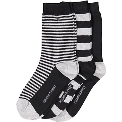 Polarn O. Pyret Children's Stripe Socks, Pack of 3, Black