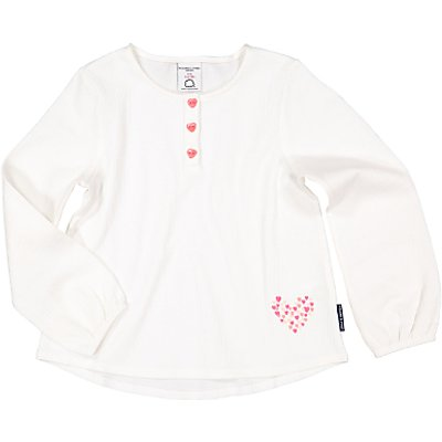 Polarn O. Pyret Girls' Heart Front Button Top, White