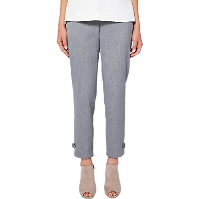 Ted Baker Nadaet Bow Detail Textured Trousers, Mid Grey
