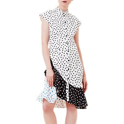 Finery Acton Short Sleeve Shirt Dress, Polka Dot