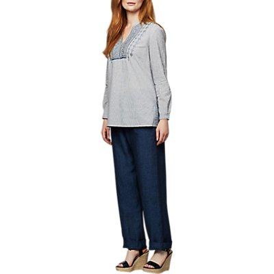 East Linen Drawstring Trousers, Indigo